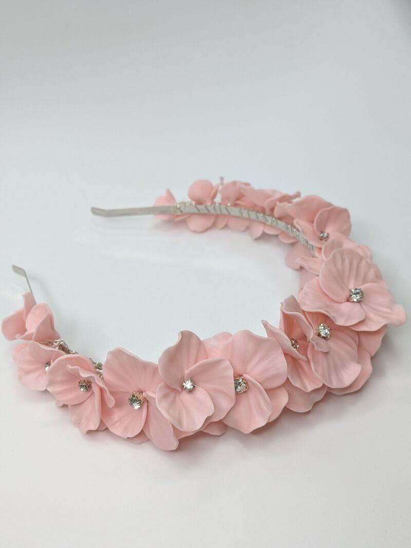 Дизайнерский свадебный ободок на голову с цветами, артикул 34075002, фото №1