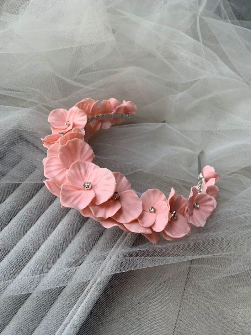Дизайнерский свадебный ободок на голову с цветами, артикул 34075002, фото №2