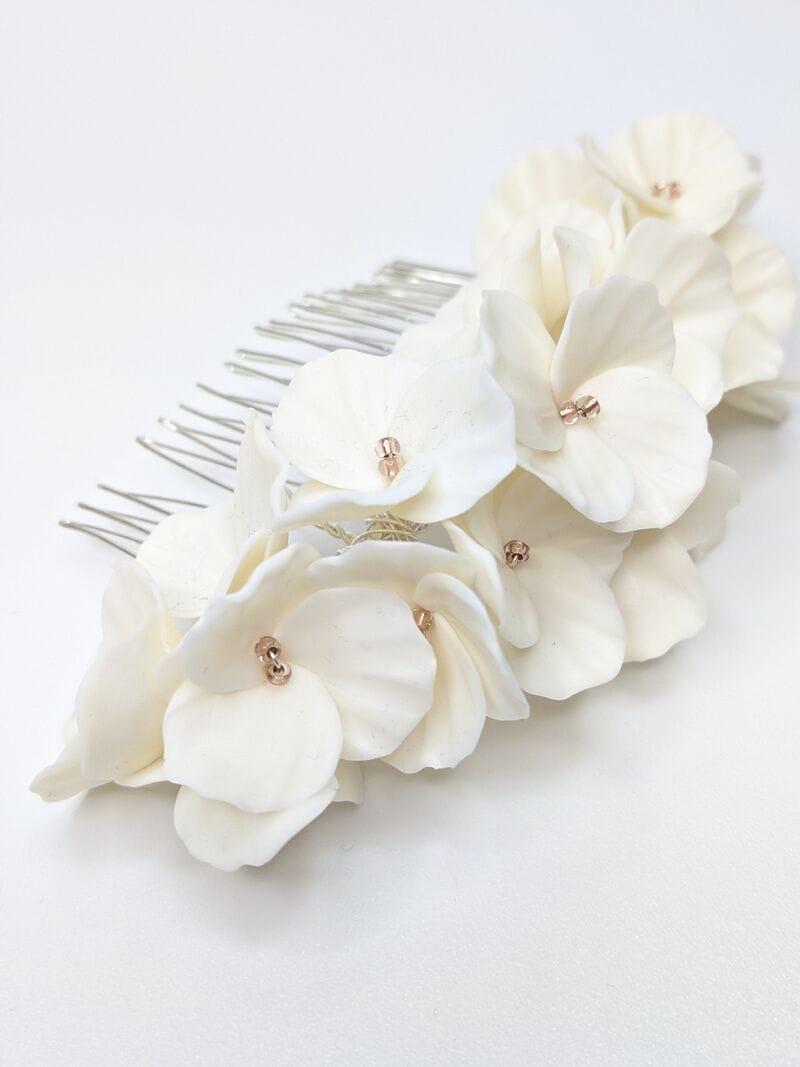 Большой свадебный гребень с белыми цветами, артикул 34078002, фото 2