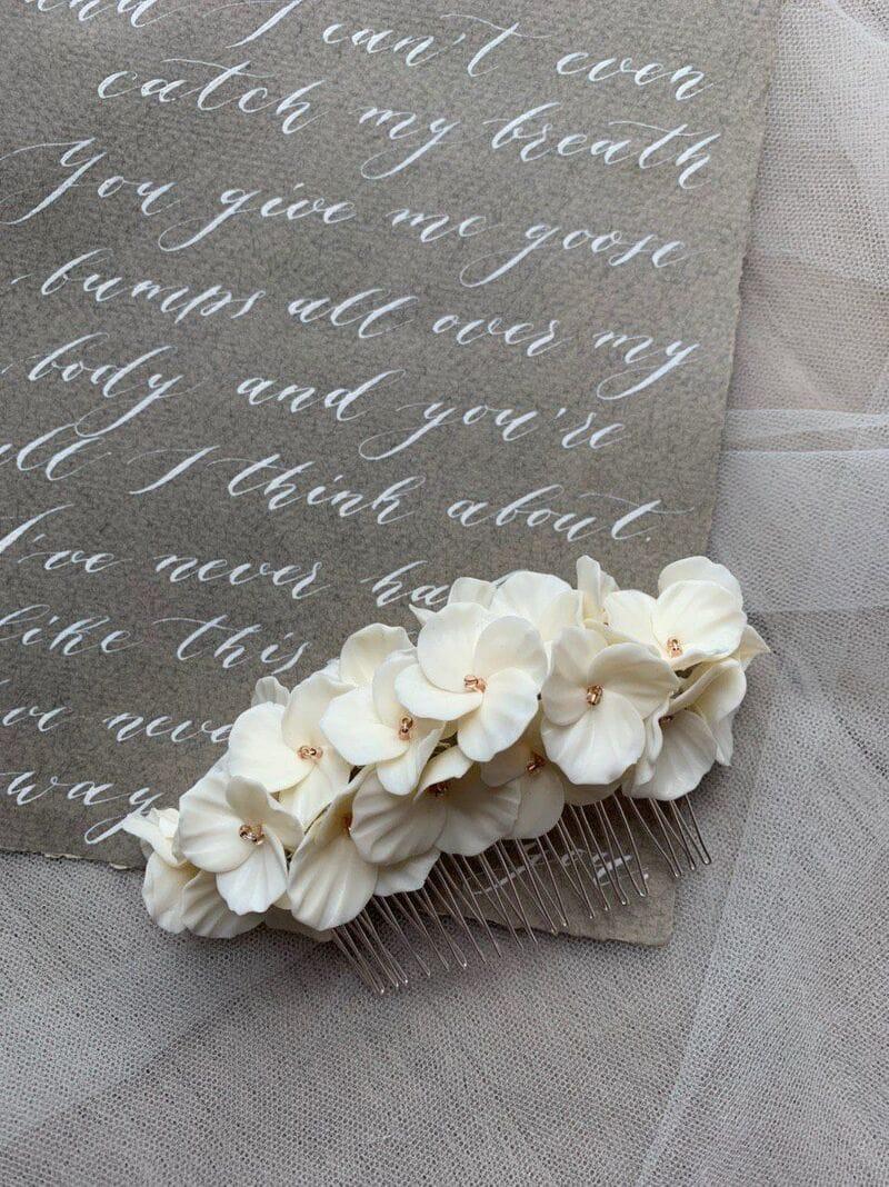 Большой свадебный гребень с белыми цветами, артикул 34078002, фото 4