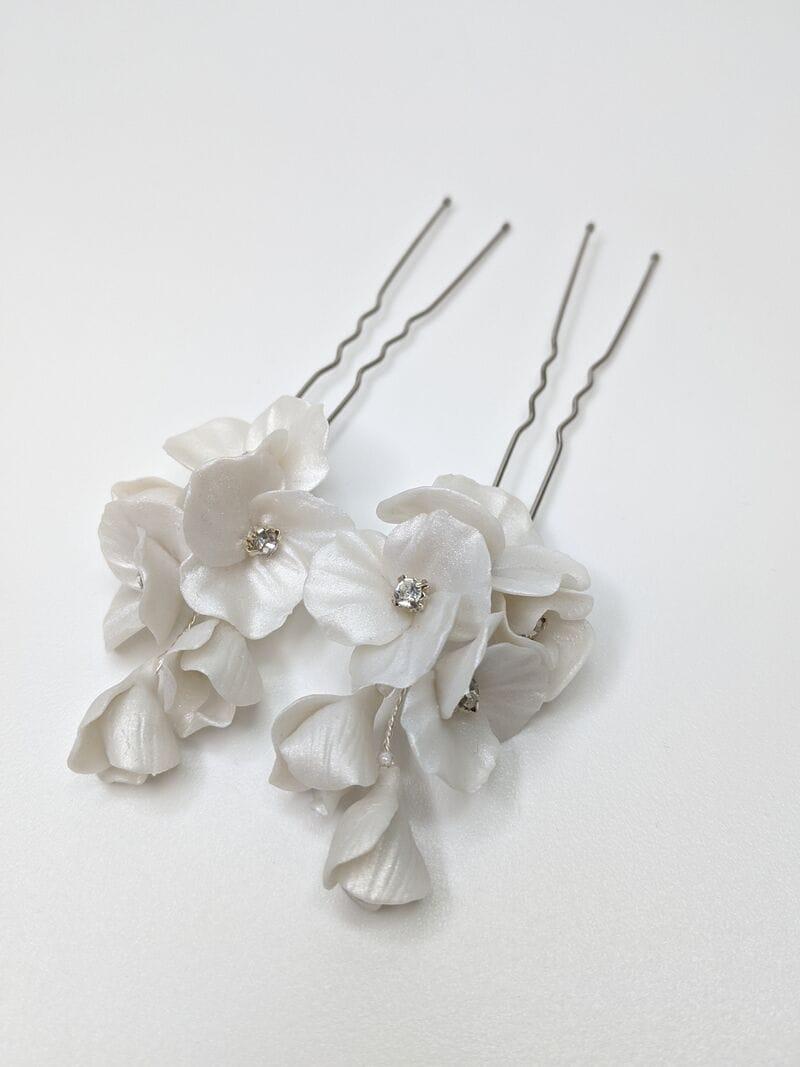Набор (2 шт.) цветочных перламутровых шпилек ручной работы, артикул 34079002, фото 2
