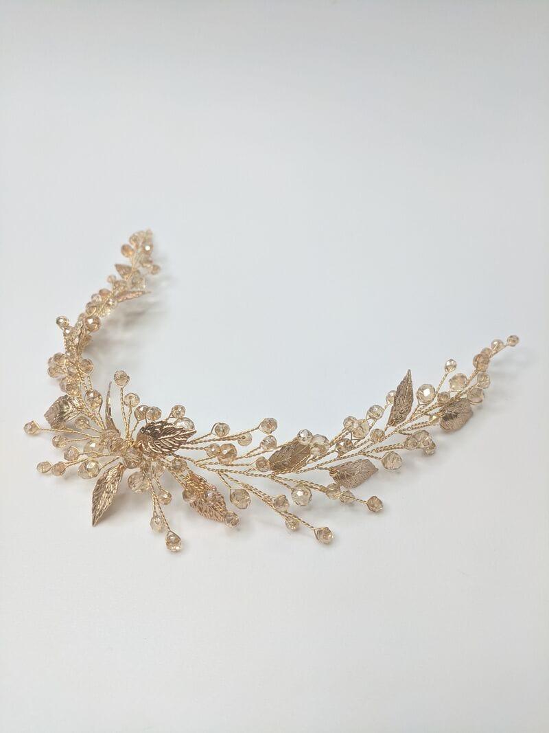 Дизайнерское золотое свадебное украшение, артикул 34089002, фото №1