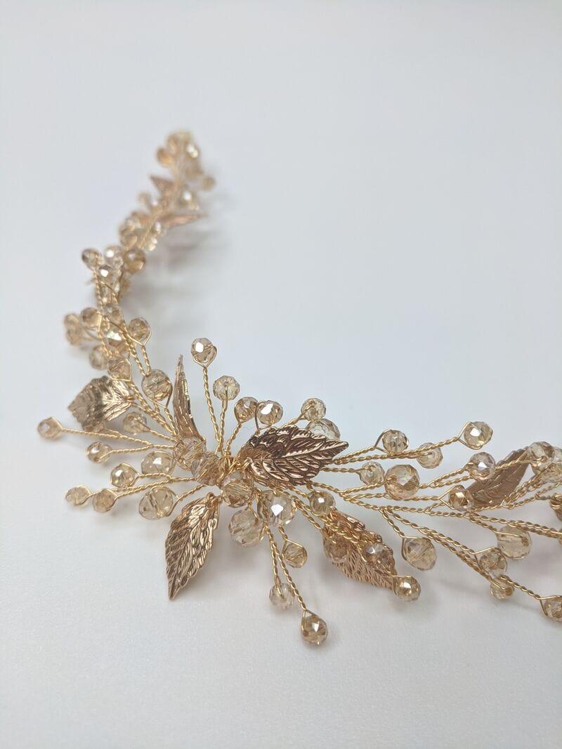 Дизайнерское золотое свадебное украшение, артикул 34089002, фото №2