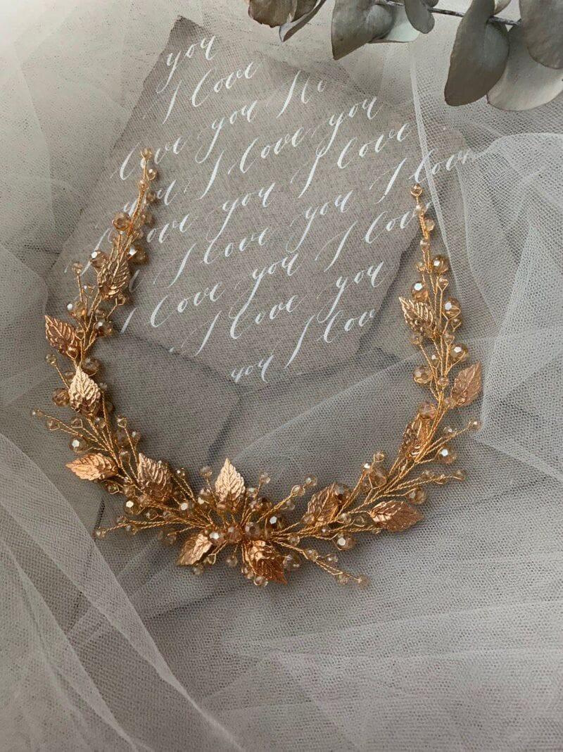 Дизайнерское золотое свадебное украшение, артикул 34089002, фото №4