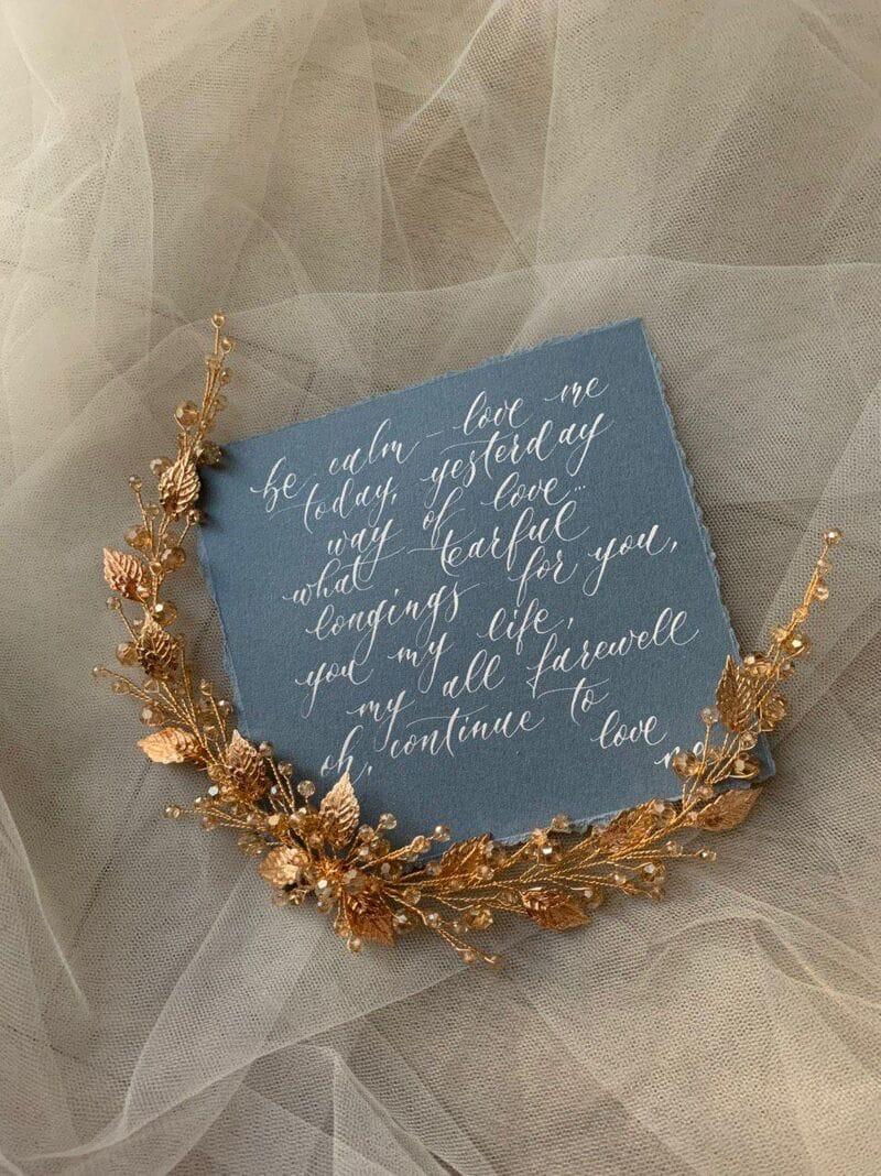 Дизайнерское золотое свадебное украшение, артикул 34089002, фото №5