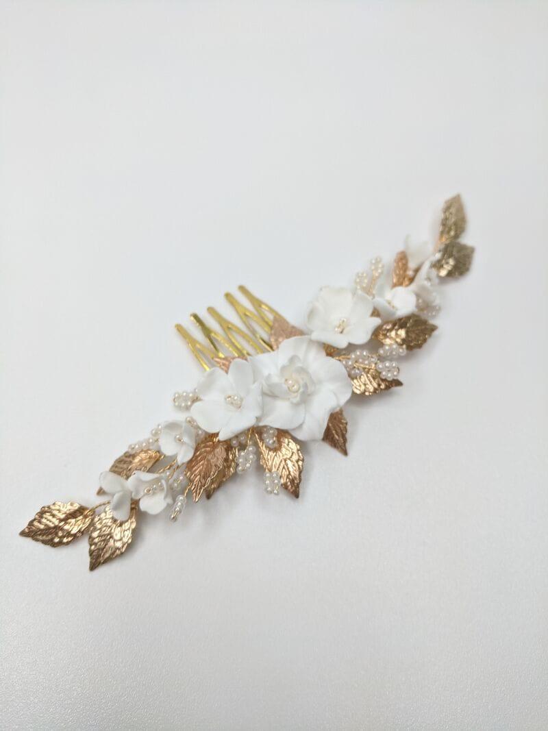 Свадебный гребень с цветами и золотыми листиками, артикул 34092002, фото №1