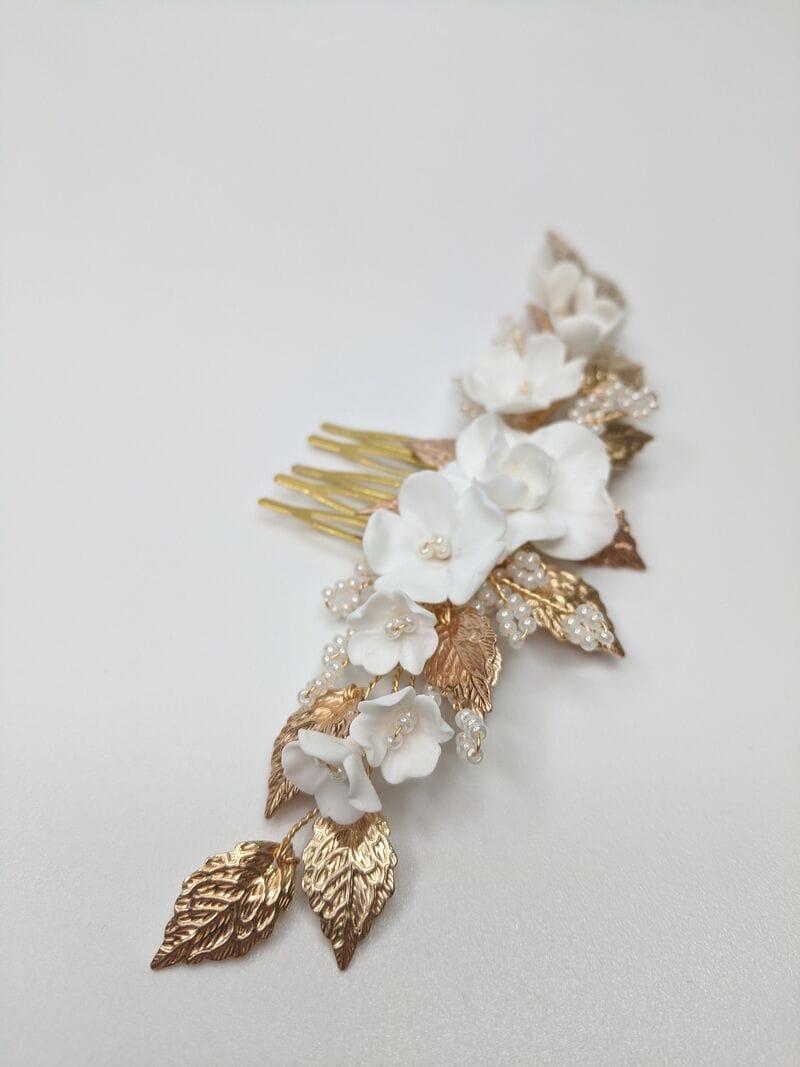 Свадебный гребень с цветами и золотыми листиками, артикул 34092002, фото №2