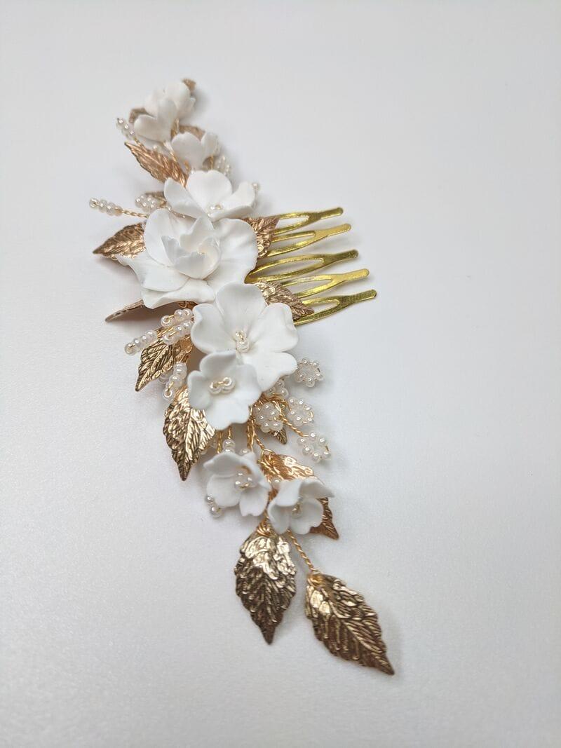 Свадебный гребень с цветами и золотыми листиками, артикул 34092002, фото №3