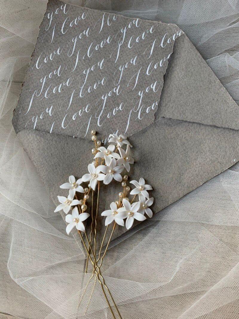 Набор свадебных шпилек с цветами (3), артикул 34093002, фото 4