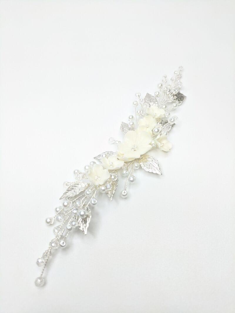 Свадебный гребень с цветами и листиками в серебре, артикул 34098003, фото №2