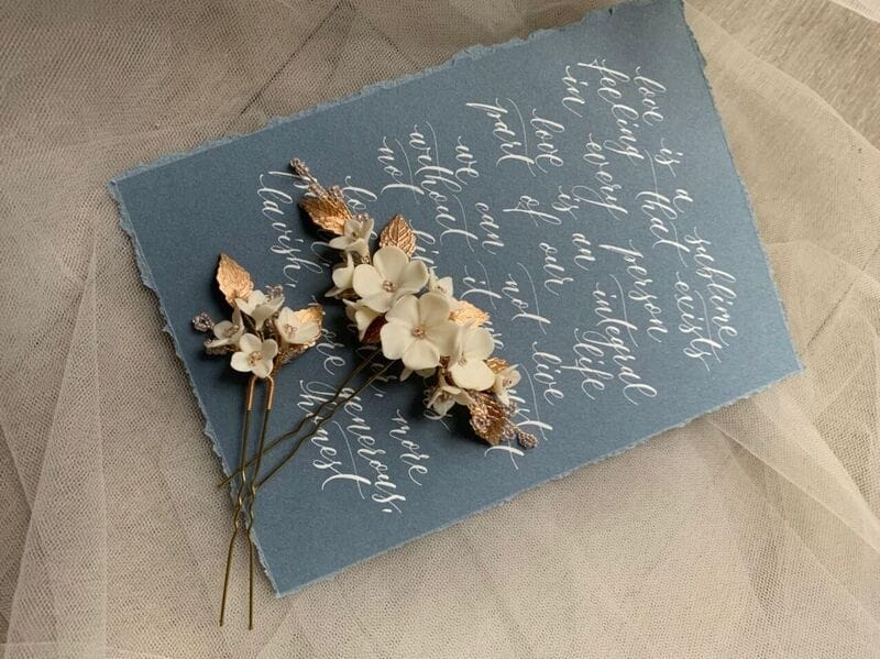 Набор (2 шт.) цветочных шпилек в золоте, артикул 34099003, фото 7