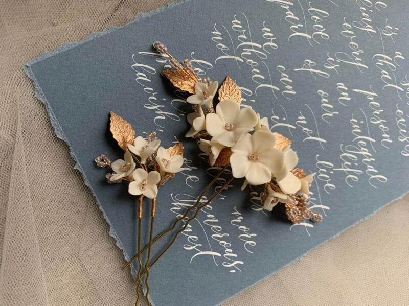 Набор (2 шт.) цветочных шпилек в золоте, артикул 34099003, фото 8