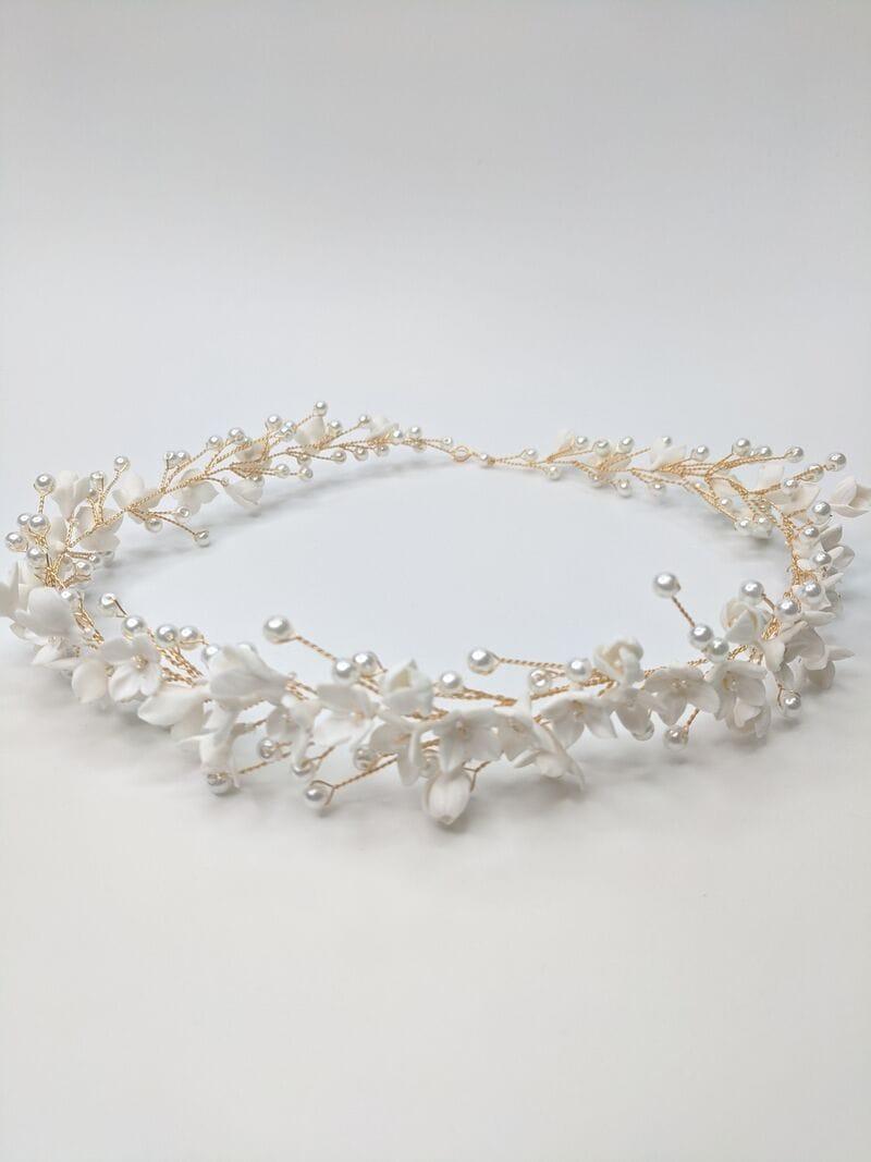 Свадебный веночек с цветами из японской глины, артикул 34110003, фото №2