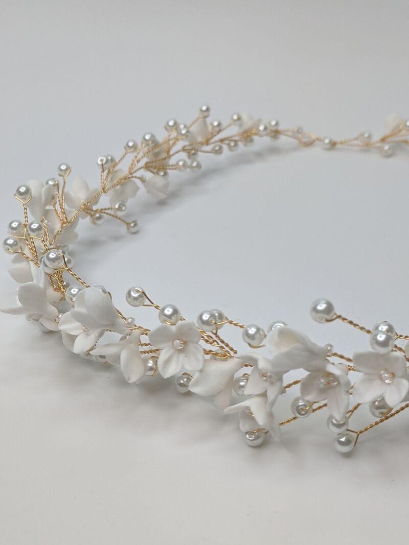 Свадебный веночек с цветами из японской глины, артикул 34110003, фото №3