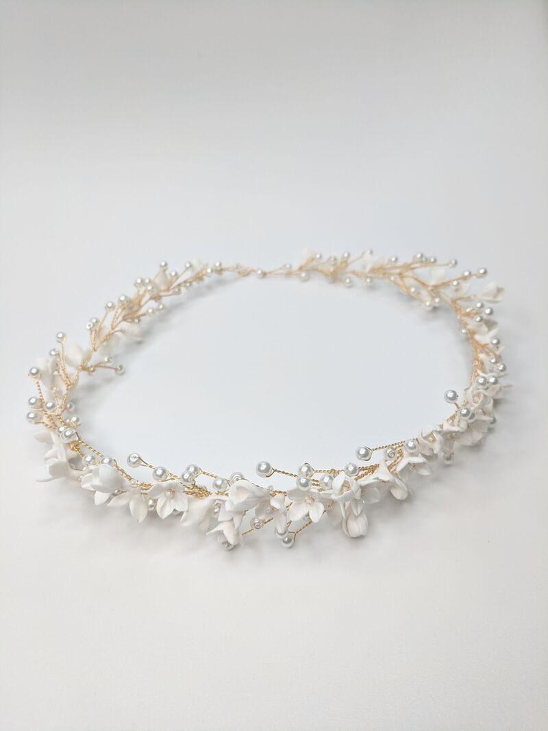 Свадебный веночек с цветами из японской глины, артикул 34110003, фото №4
