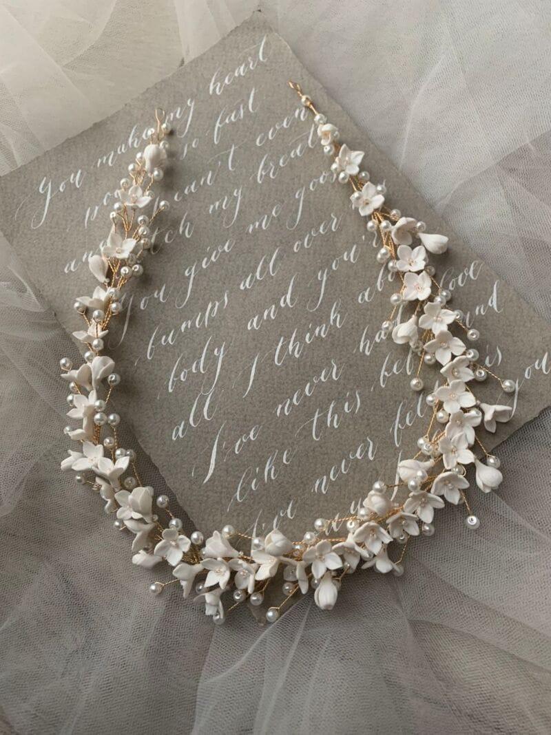 Свадебный веночек с цветами из японской глины, артикул 34110003, фото №6