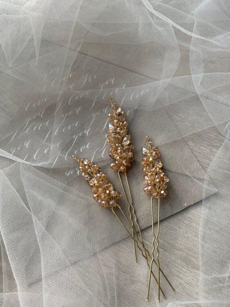 Набор золотистых шпилек для волос (3), артикул 34180003, фото 5