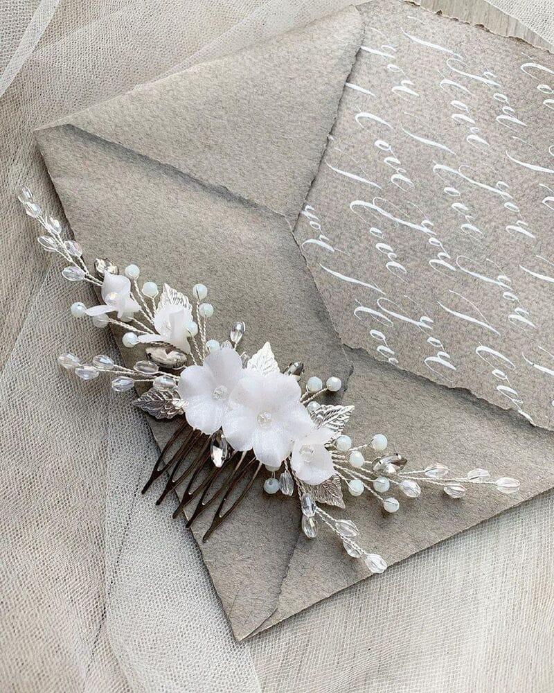Свадебный гребень для волос с цветами, артикул 34270003, фото №4