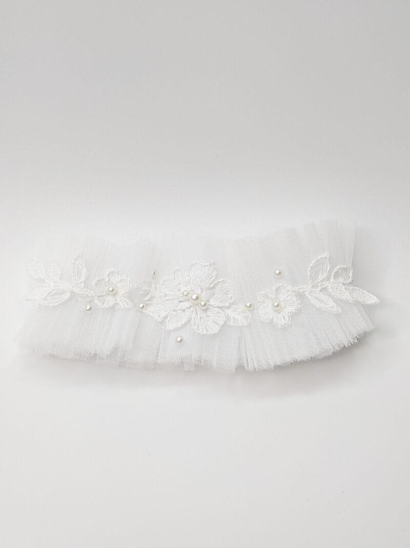 Белая свадебная подвязка с кружевом, артикул 36200003, фото №1