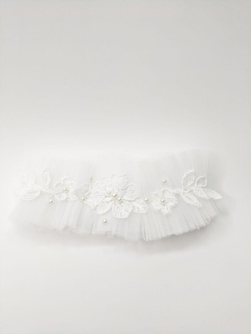 Белая свадебная подвязка с кружевом, артикул 36200003, фото №2