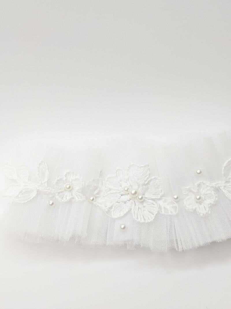 Белая свадебная подвязка с кружевом, артикул 36200003, фото №3