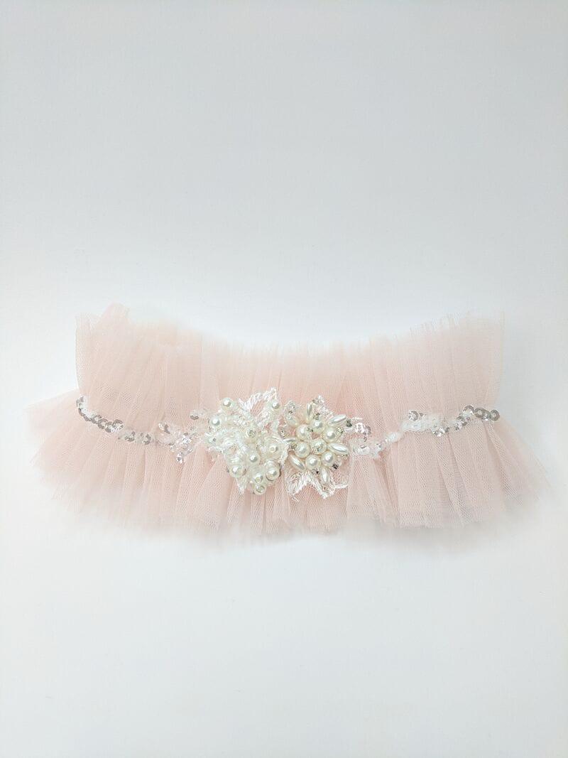 Розовая свадебная подвязка, артикул 36400003, фото №1