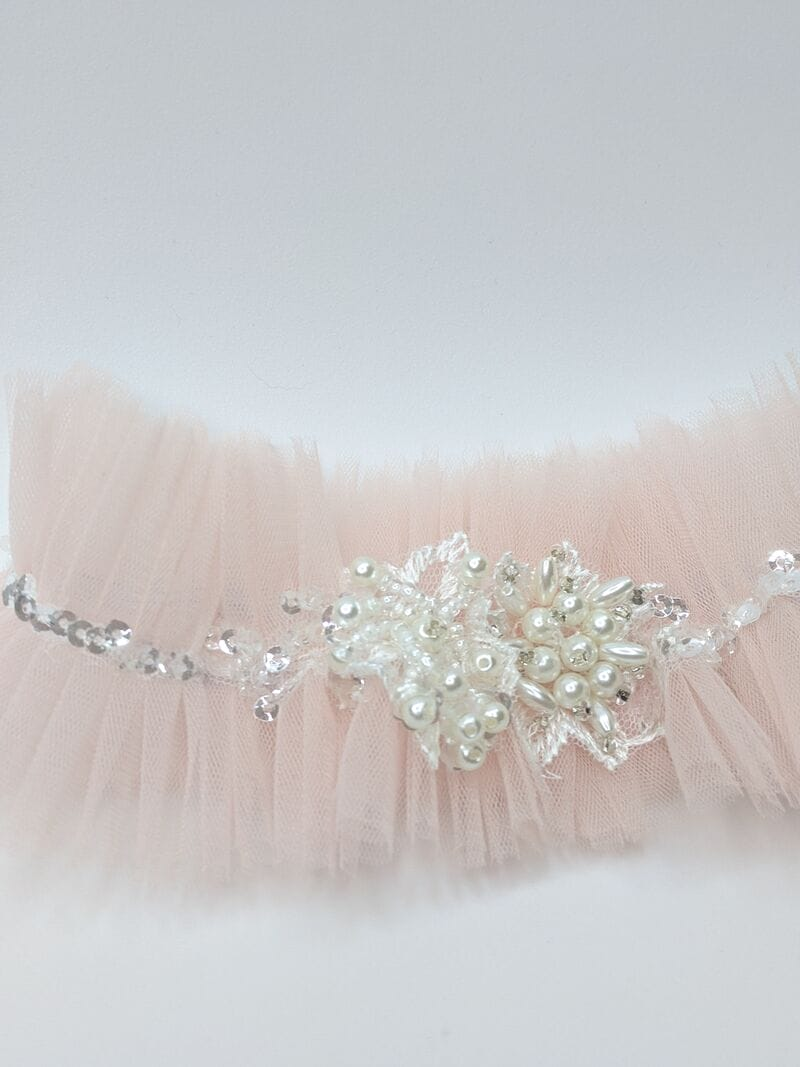 Розовая свадебная подвязка, артикул 36400003, фото №2