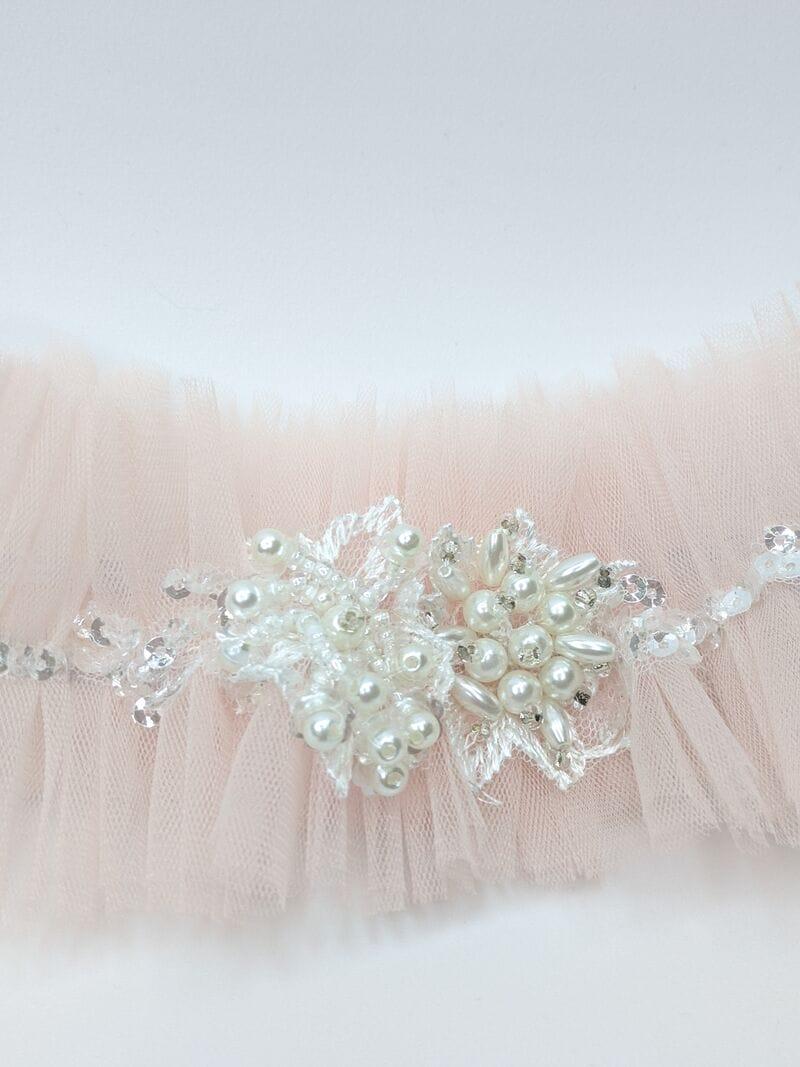 Розовая свадебная подвязка, артикул 36400003, фото №3