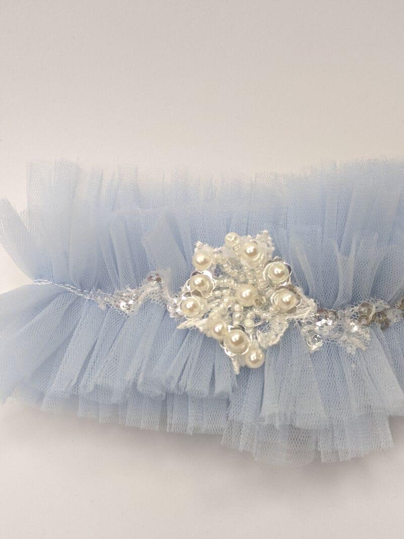 Синяя свадебная подвязка, артикул 36500003, фото №3