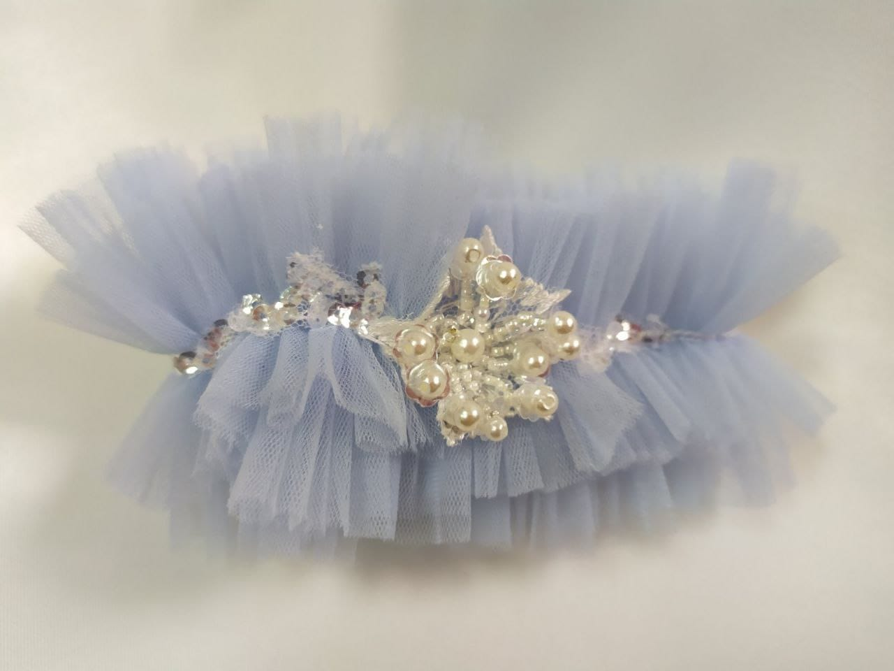 Синяя свадебная подвязка, артикул 36500003, фото №4
