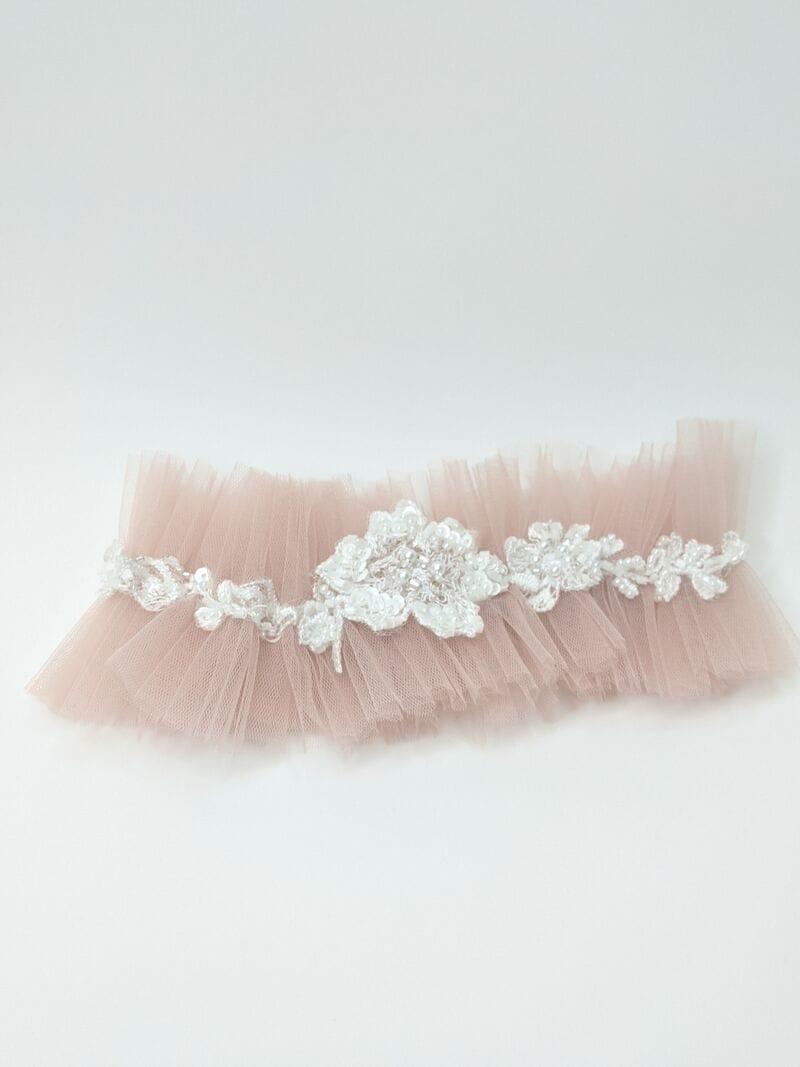 Свадебная подвязка с украшением, артикул 36600003, фото №2
