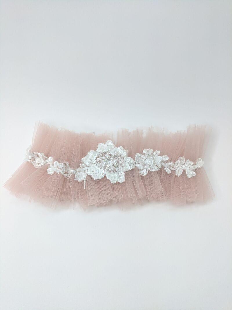 Свадебная подвязка с украшением, артикул 36600003, фото №3