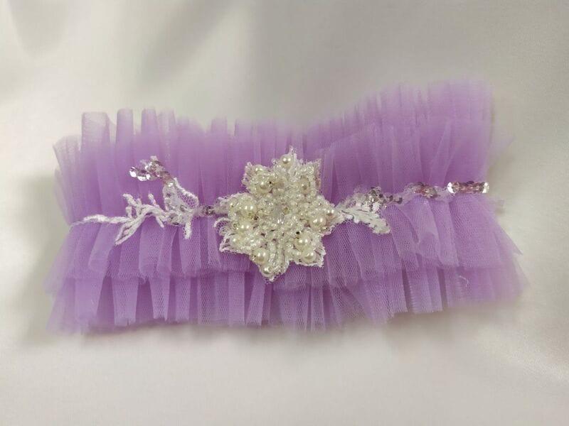 Фиолетовая свадебная подвязка для ног, Артикул 36700003, фото №3