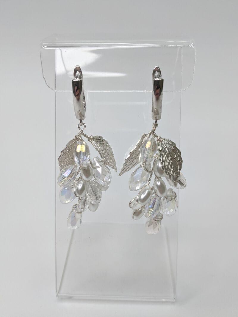 Свадебные серьги листики с кристаллами, артикул 5630025, фото 1