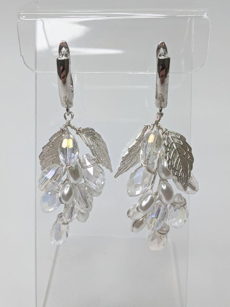 Свадебные серьги листики с кристаллами, артикул 5630025, фото 2