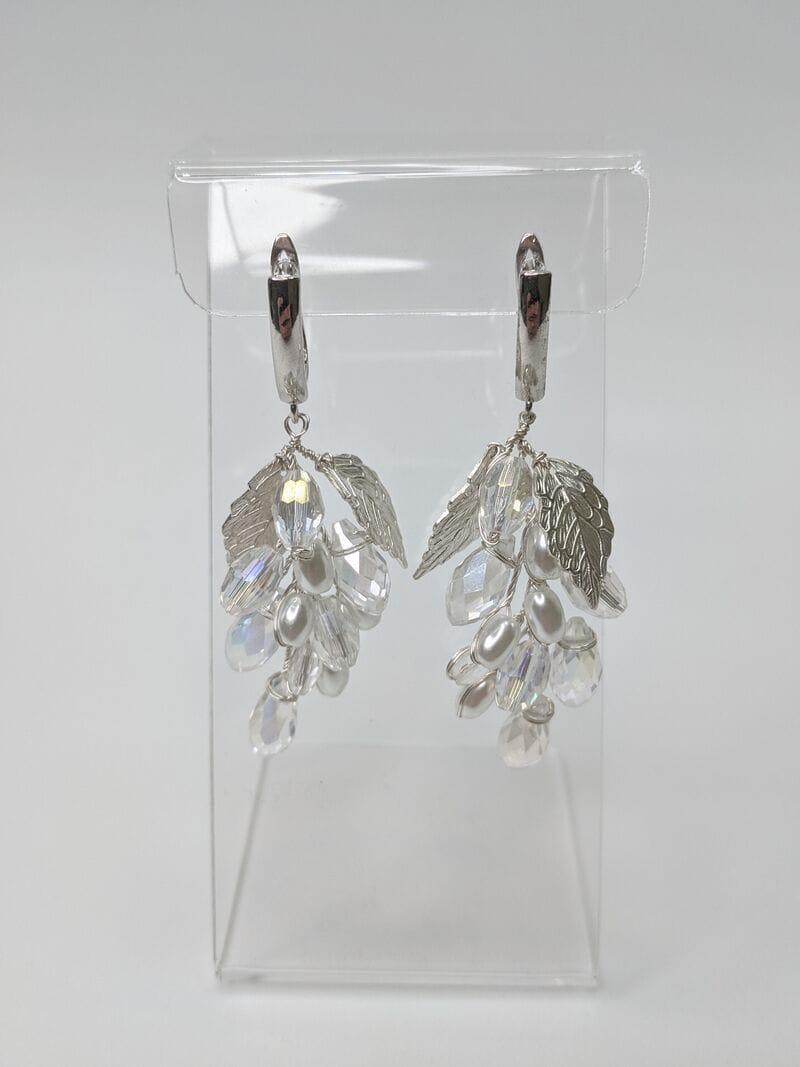 Свадебные серьги листики с кристаллами, артикул 5630025, фото 3