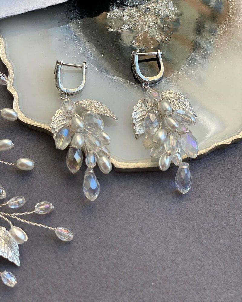 Свадебные серьги листики с кристаллами, артикул 5630025, фото 4