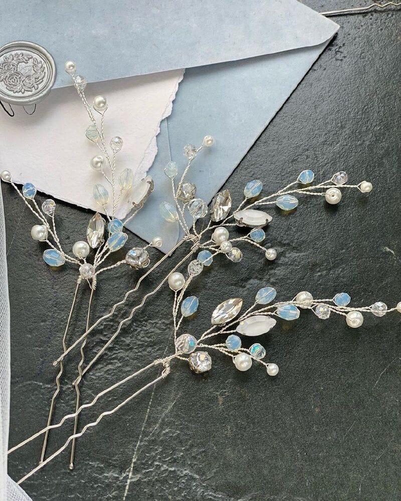 Набор свадебных шпилек «Голубой опал», артикул 5635013, фото 5