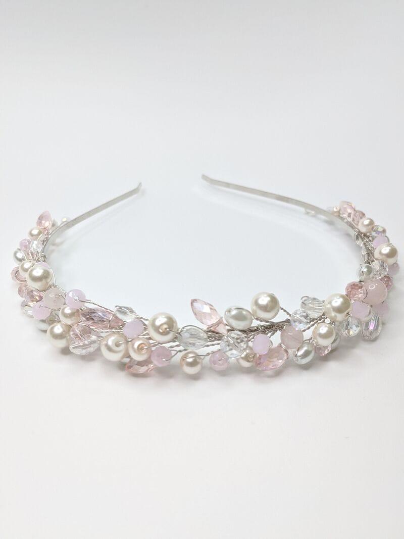 Свадебный ободок с розовым опалом, артикул 5638032, фото №1