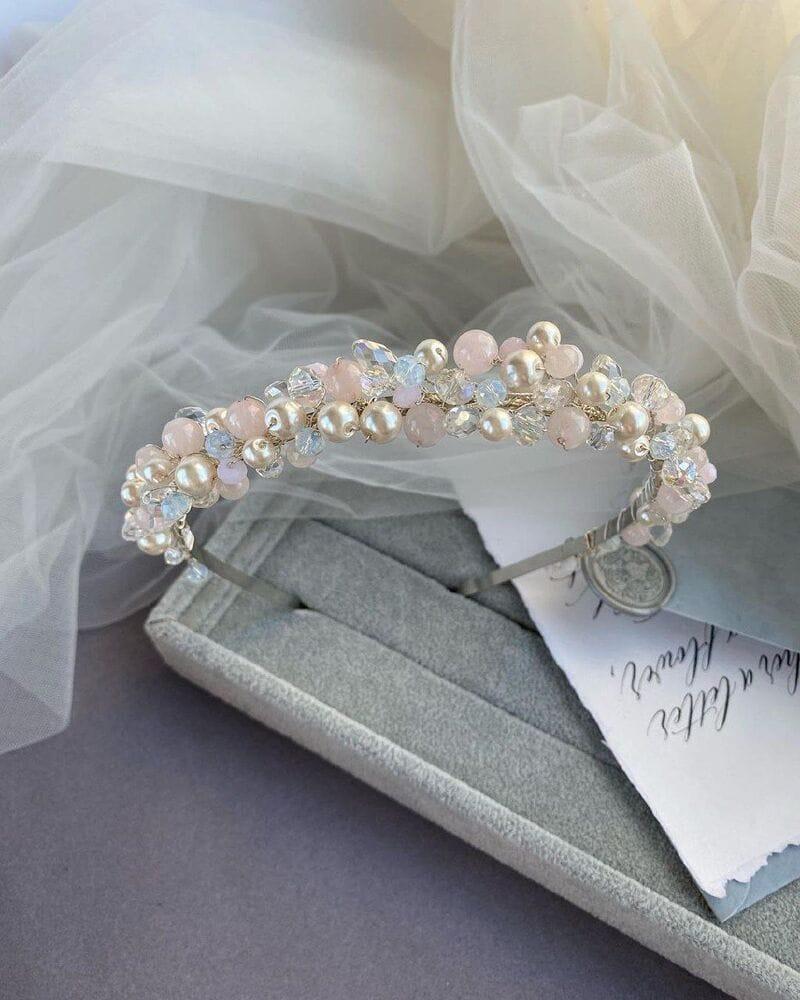 Свадебный ободок с розовым опалом, артикул 5638032, фото №4