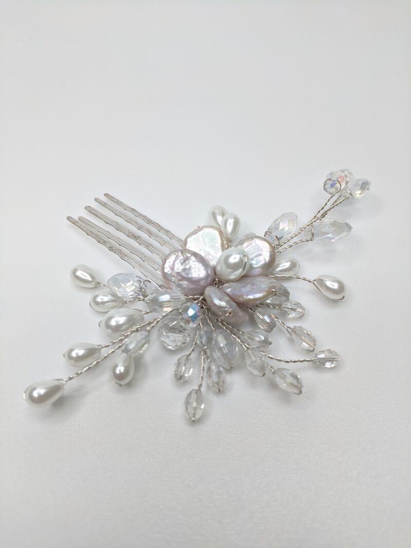 Свадебный гребень для волос с жемчугом, артикул 5640006, фото №1