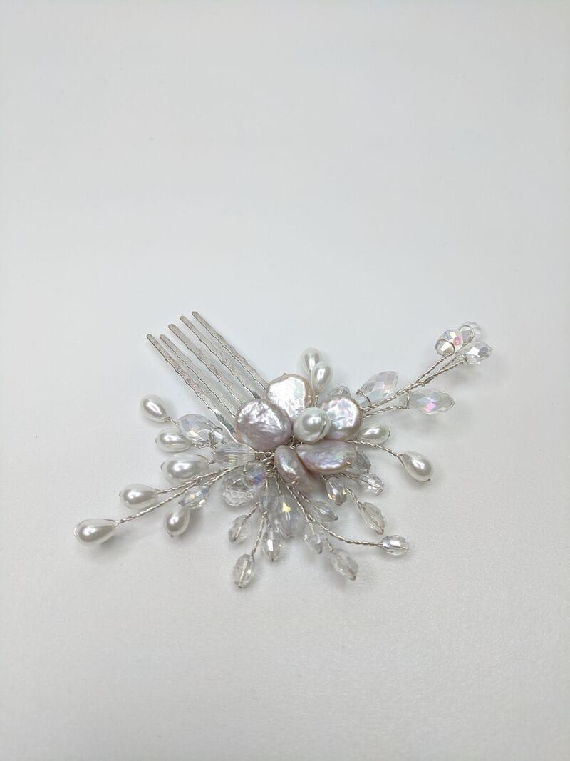 Свадебный гребень для волос с жемчугом, артикул 5640006, фото №3