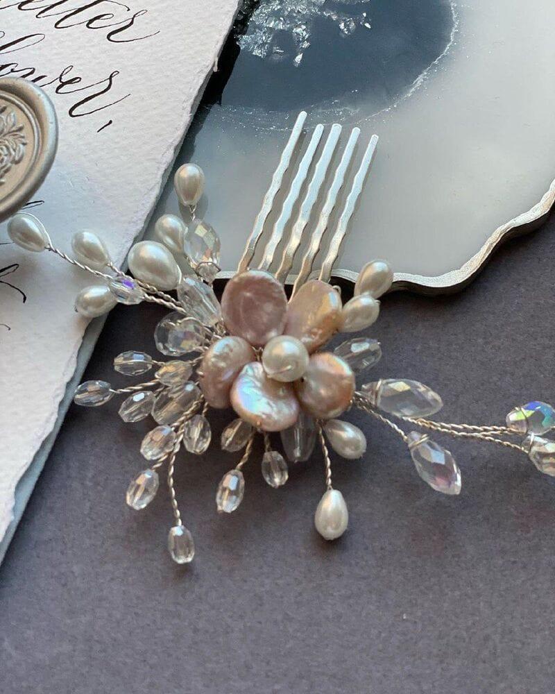 Свадебный гребень для волос с жемчугом, артикул 5640006, фото №5