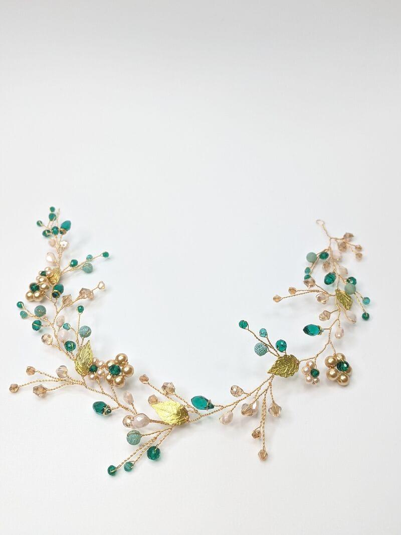Золотая свадебная веточка с изумрудными кристаллами, артикул 5640016, фото 1