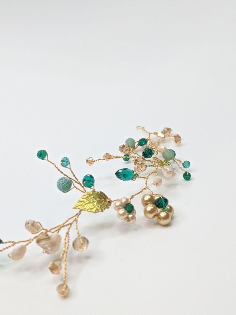 Золотая свадебная веточка с изумрудными кристаллами, артикул 5640016, фото 2