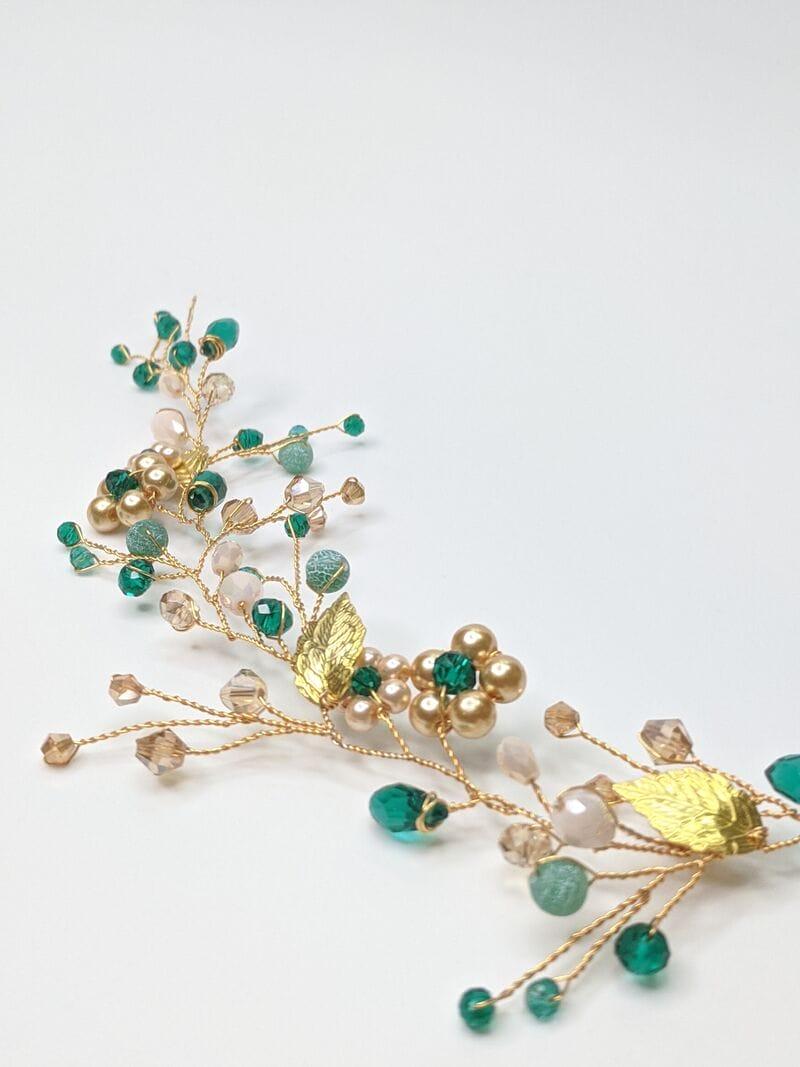 Золотая свадебная веточка с изумрудными кристаллами, артикул 5640016, фото 3