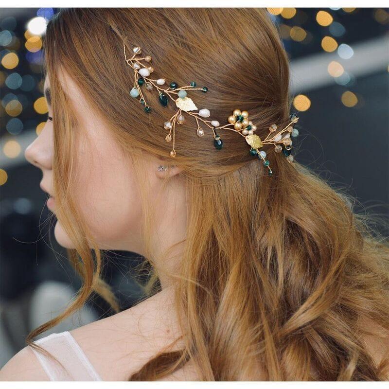 Золотая свадебная веточка с изумрудными кристаллами, артикул 5640016, фото 4
