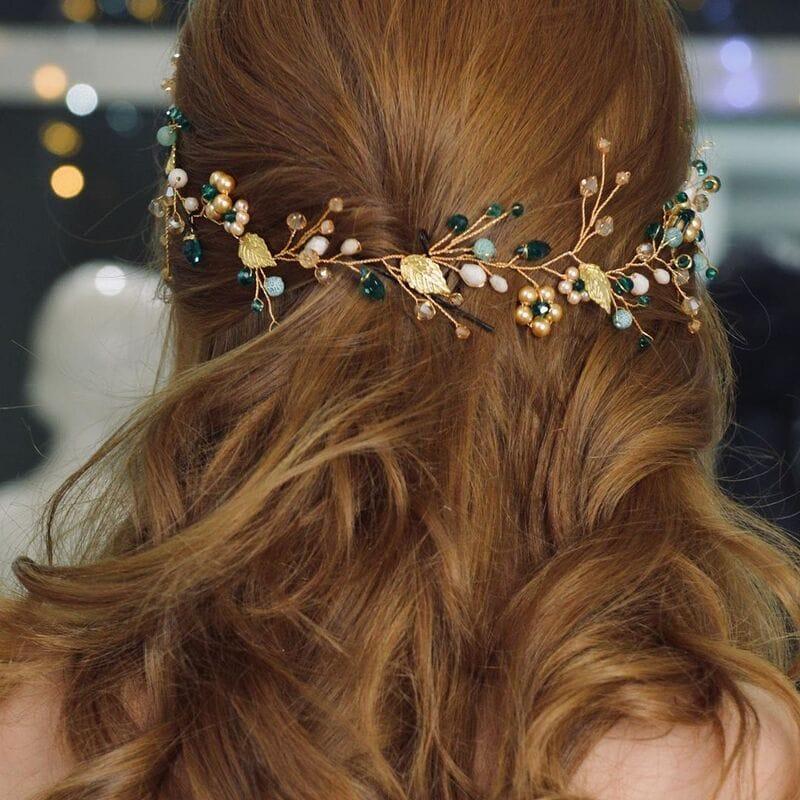 Золотая свадебная веточка с изумрудными кристаллами, артикул 5640016, фото 5