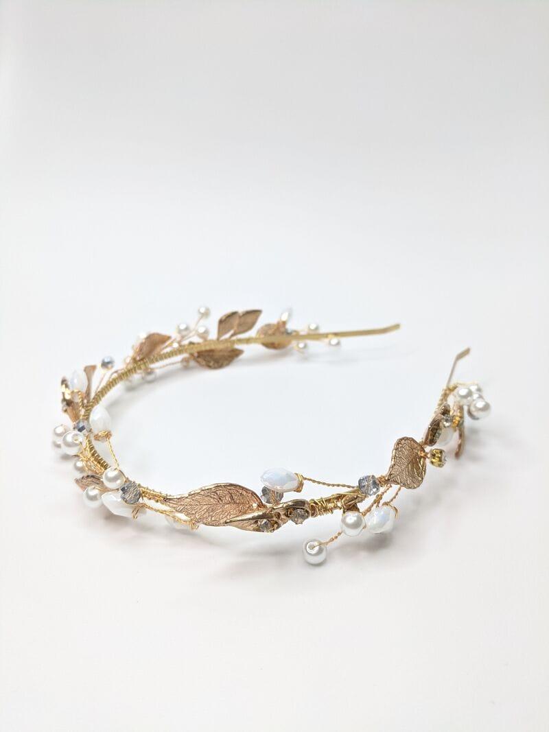 Свадебный ободок с золотыми листьями, артикул 5642031, фото №1
