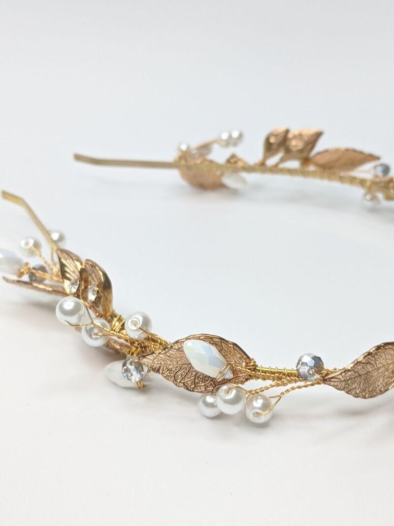 Свадебный ободок с золотыми листьями, артикул 5642031, фото №2